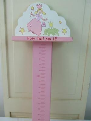 Pink Wooden Girl Princess Wall Hanging Growth Chart Frog Stars how tall am i ? Star Girl Growth Chart