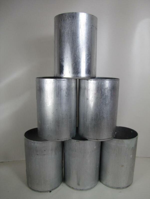 "(6) 3"" x 4"" Pillar Candle Molds - Round Seamless Aluminum with Contoured Base"