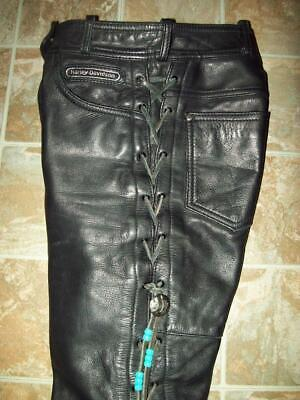 Harley Davidson Womens 4 XS Black Leather Motorcycle Riding Pants Lace Up Legs
