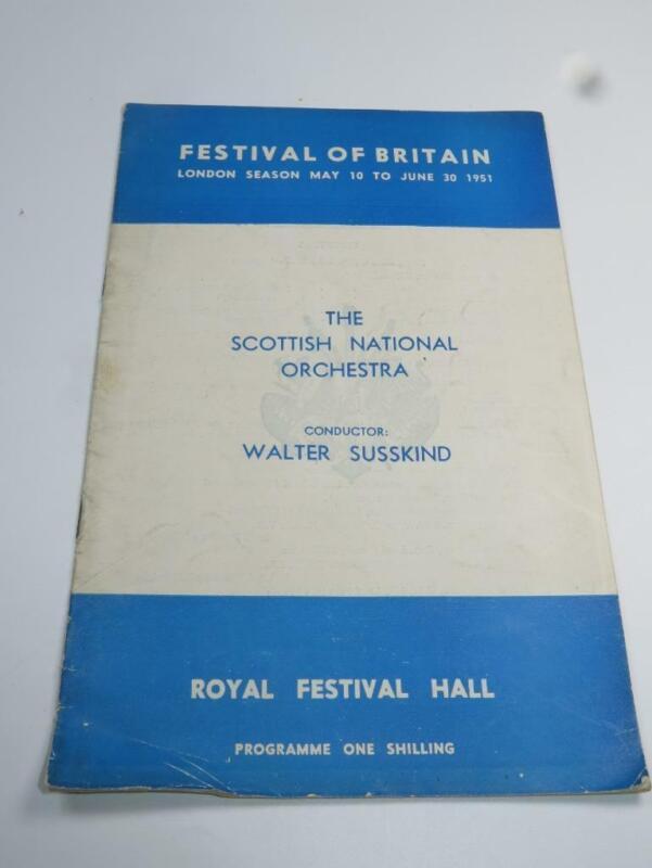 VINTAGE PROGRAMME Festival of Britain Scottish National Orchestra 1951