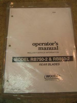 Woods Rb750-2 Rb850-2 Rear Blade 3 Point Operators Manual Parts Service