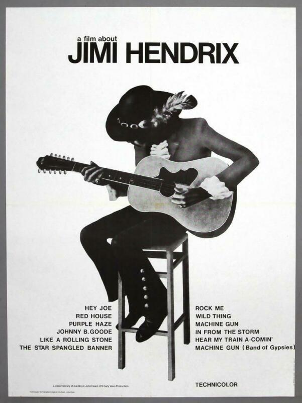 "JIMI HENDRIX - ""A Film About Jimi Hendrix"" rare original 1973 movie poster"