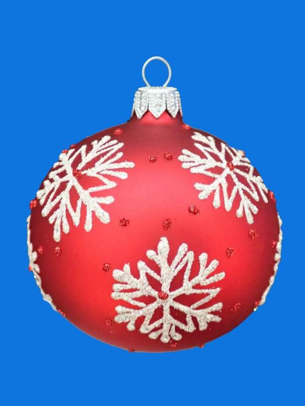 8cm RED SNOWFLAKE KUGEL BALL EUROPEAN BLOWN GLASS CHRISTMAS TREE ORNAMENT 034