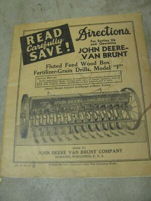 John Deere Van Brunt Model F Grain Drill Operators Manual And Parts List
