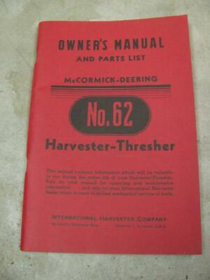 International Harvester No 62 Thresher Pull Type Combine Owners Manual Parts