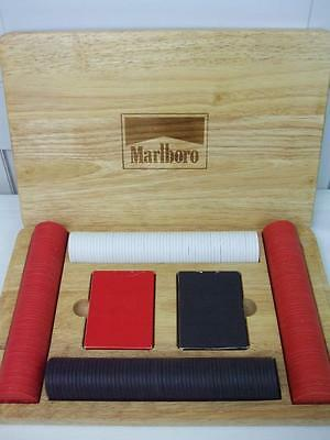 Marlboro Poker Game Set 2 Packs Playing Cards w 2 Jokers Chips Oak Wooden Case - Chips Oak Case