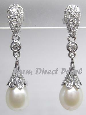 - Genuine 8.5-9mm White Drop Pearl Dangle Earrings Wedding CZ Cultured Freshwater