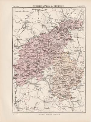 Northampton and Bedford Map by W & A K Johnston 1875
