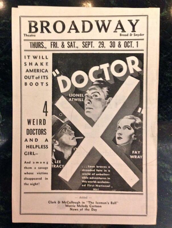 Doctor X Fay Wray Lionel Atwill Lee Tracy Herald 1933 Monster Weird Horror Rare