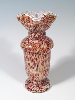 Bohemian Czech Victorian Era Antique Cased Spatter Nouveau Art Glass Vase EXCL!