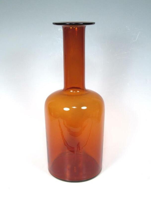 """Holmegaard Kastrup Otto Brauer Danish Art Glass 15"""" Gulvase Amber Brown MCM Vase"""
