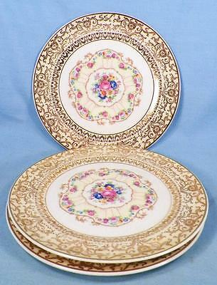 3 Limoges Royal Delight Bread Plates Pink Flowers 22K American C-49 Vintage