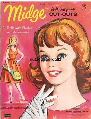 VINTAGE 1963 MIDGE PAPER DOLLS ~GORGEOUS LASER REPRODUCTION~ORIG. SIZE UNCUT