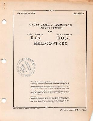 1944 AAF SIKORSKY R-6A HOVERFLY II HELICOPTER PILOT FLIGHT MANUAL HANDBOOK-CD