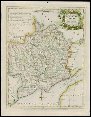 1764 Original Antique MAP Wales of MONMOUTHSHIRE by Thomas Kitchin (W/DW129)