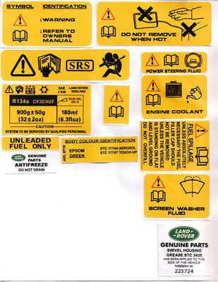 Range Rover Classic Underhood STICKERS DECALS Set Kit