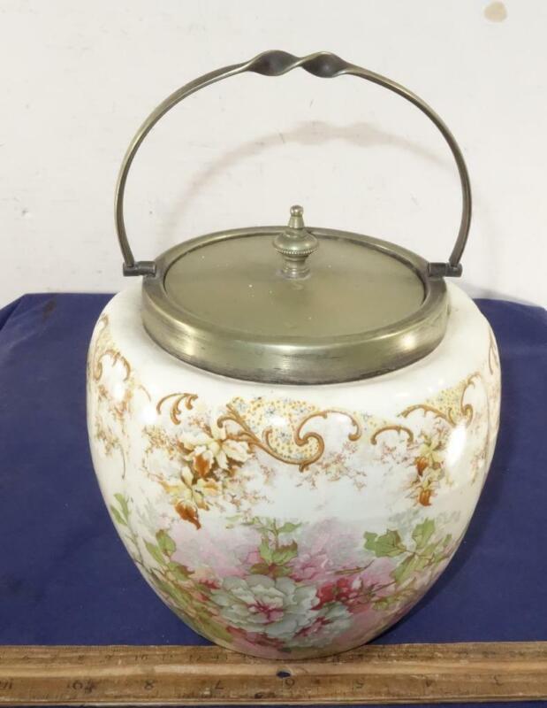 Antique German Cracker Biscuit Porcelain Jar JB Chatterley Son Silver Plate Top