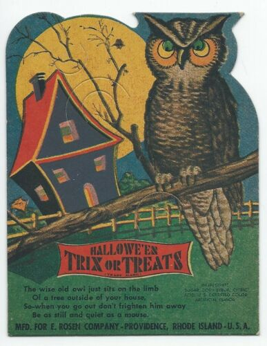 "Vintage E. Rosen Halloween ""Trix or Treats"" Owl Lollipop Holder Unused"
