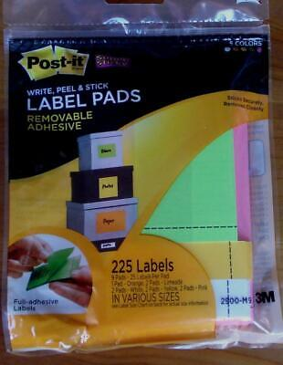 Post-it Label Pads - Write Peel Stick - Removable - Brand New - 225 Count