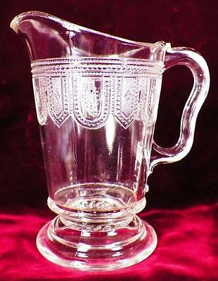 Beaded Band Creamer Early American Pattern Glass Antique Thousand Eye Band 1884