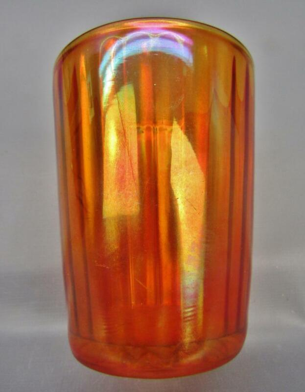 "OPTIC RIB (Maker Unknown - Imperial?) Marigold Carnival Glass 4"" Tumbler 6399"