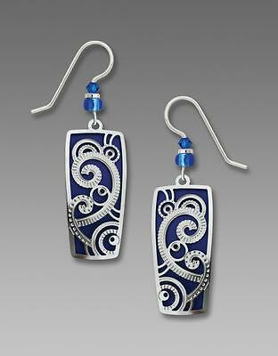 1920s Art Deco Jewelry: Earrings, Necklaces, Brooch, Bracelets Adajio Earrings Shiny Silver Art Deco Swirls Pattern Over True Blue Column $21.50 AT vintagedancer.com