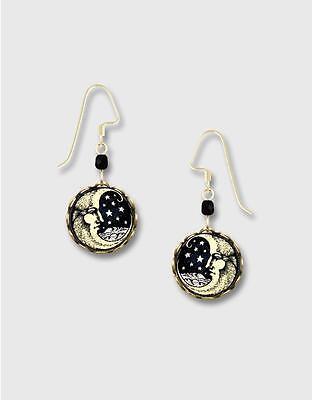 Moon Face Print Lace Brass Disc Earrings by Lemon Tree 14K Gold Filled Hook Painted Lace Earrings