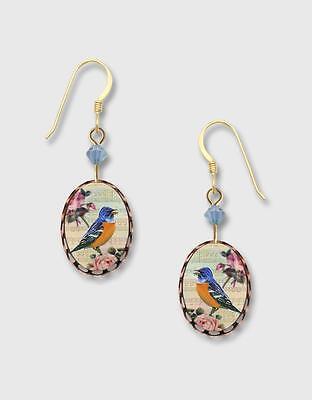 Blue Bird Pink Flower Lace Brass Oval Earrings Lemon Tree 14K GF Hook Handmade Painted Lace Earrings