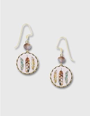 Feathers Print Brass Lace Round Earrings by Lemon Tree 14K GF Hook Handmade USA Painted Lace Earrings