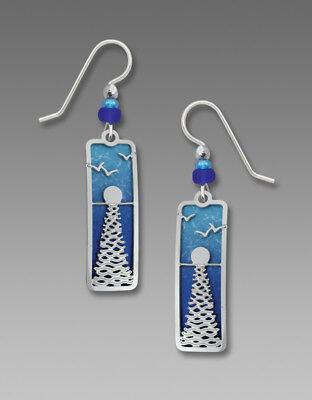 Adajio Earrings Shiny Silver Sun with Reflection Overlay Over Deep Blue Sea