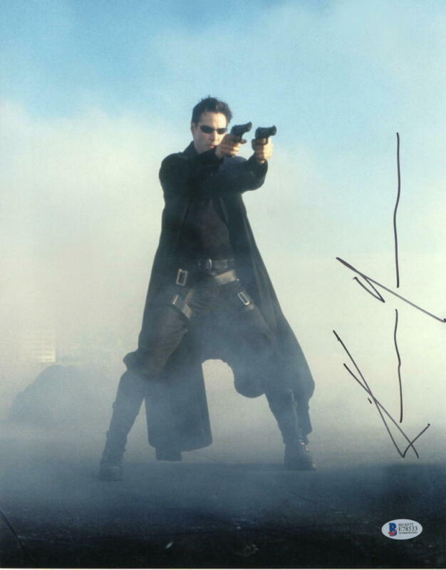 KEANU REEVES SIGNED 11X14 PHOTO THE MATRIX AUTHENTIC AUTOGRAPH BECKETT COA A