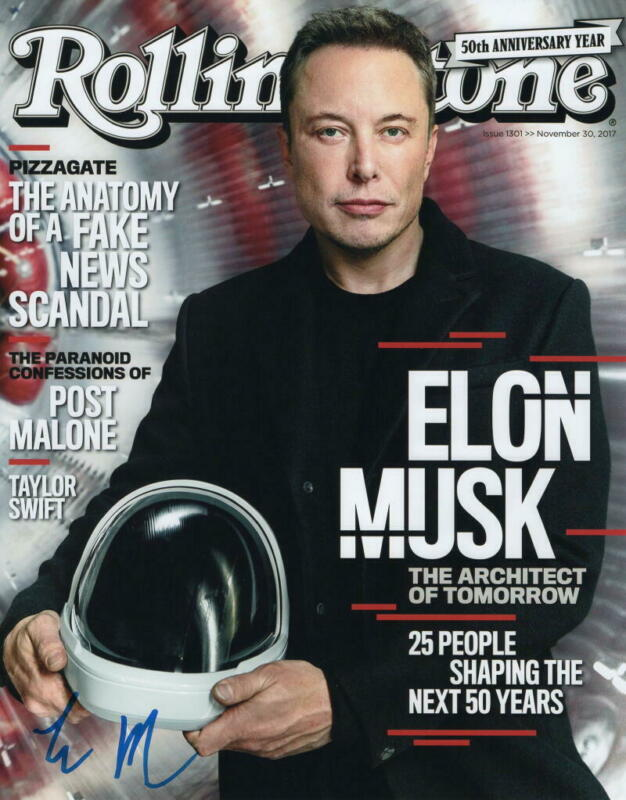 ELON MUSK SIGNED AUTOGRAPH ROLLING STONE 11X14 PHOTO - TESLA & SPACEX CEO ACOA
