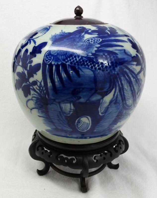 Antique Chinese Blue & White Phoenix Lidded Pot Jar Crock Tank, Wood Stand Lid