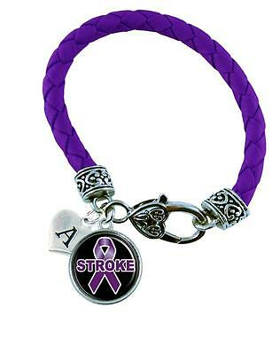 Custom Stroke Awareness Ribbon Purple Leather Bracelet Jewelry Initial Charm (Stroke Awareness Ribbon)