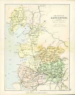 c1883 COUNTY OF LANCASTER MAP Lancashire By George Philip (PC17)