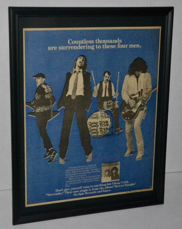 CHEAP TRICK 1978 HEAVEN TONIGHT PROMOTIONAL FRAMED POSTER / AD RICK NIELSON