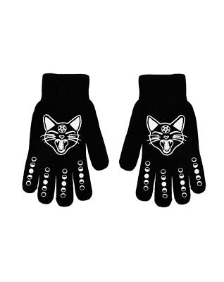 Witch Girl winter accessories Cat & Moon Phases Black Knit Stretch Gloves](Witches Glove)