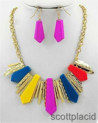 Blue yellow pink gold earring necklace set women fashion wedding bridal jewelry