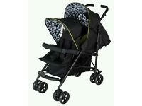 Double pram, pushchair, buggy stroller with rain cover