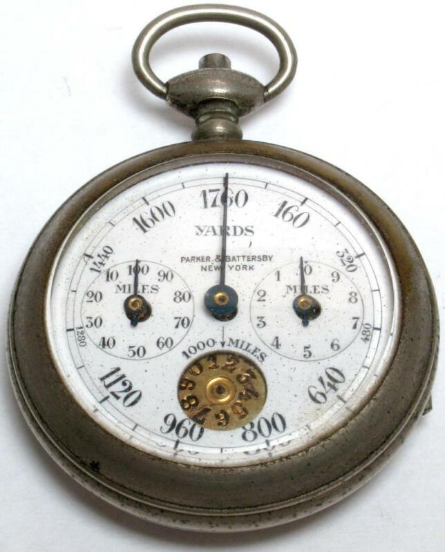 Antique Henri Chatelain 3 Dial Pocket Pedometer 1-1000 Miles By Palo, France