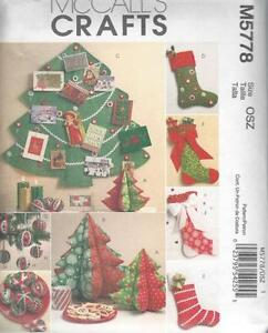 McCALL'S SEWING PATTERN CHRISTMAS DECORATIONS TREE STOCKING CARD HOLDER  M5778