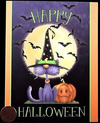 Black Cat Witch Hat Bats Pumpkin Moon - Small Happy Halloween Greeting Card  NEW - Halloween Card Animated