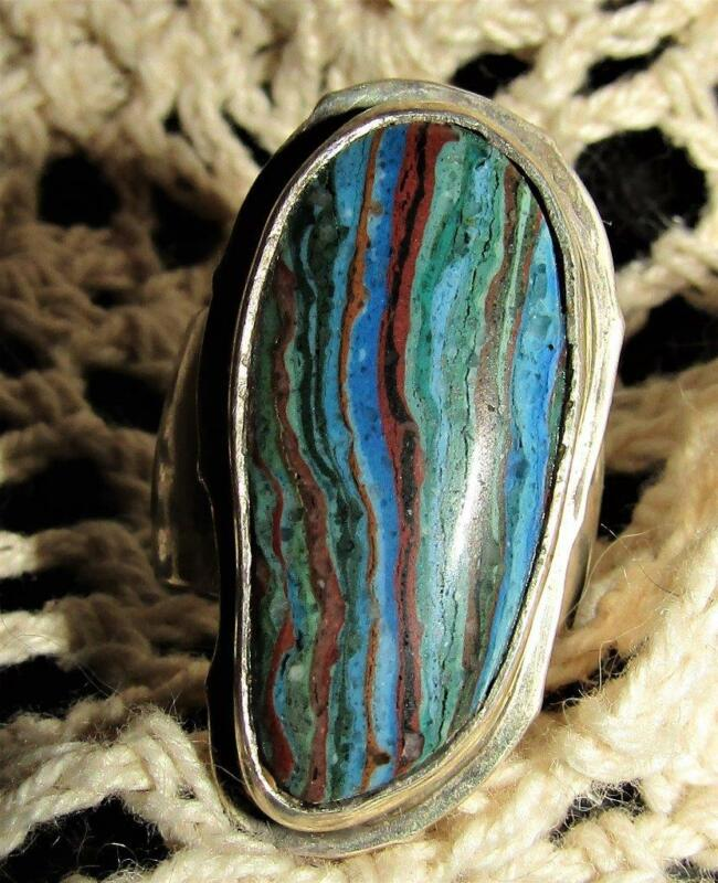 Vintage Native American Silver Turquoise Oblong Large Ring Size 6