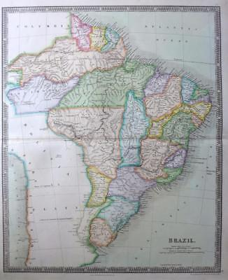 SOUTH AMERICA BRAZIL URUGUAY GUYANA  DOWER TEESDALE  ORIGINAL HAND COLOUR c1844