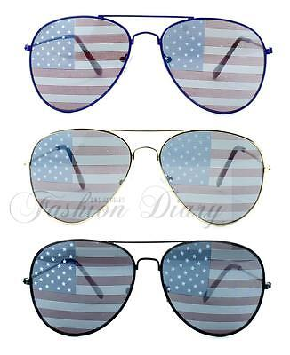 NEW USA AMERICAN FLAG UNITED STATES METAL AVIATORS PATRIOTIC SUNGLASSES (American Flag Aviators)