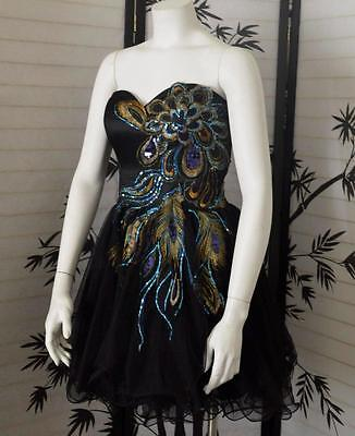 Black multicolored sequin party dress M Sweet sixteen quinceanera ONE OF A