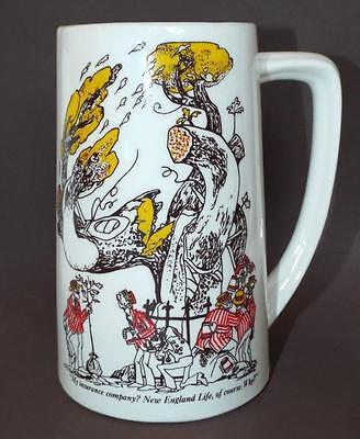 Vintage NEW ENGLAND LIFE INSURANCE COMPANY Advertising Cartoon Mug Cup Stein USA