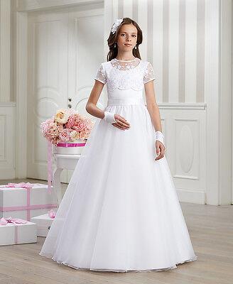 Luxus Kommunionkleid Spitze Reifrock Unterrock Kleid Kommunion Kommunionskleid