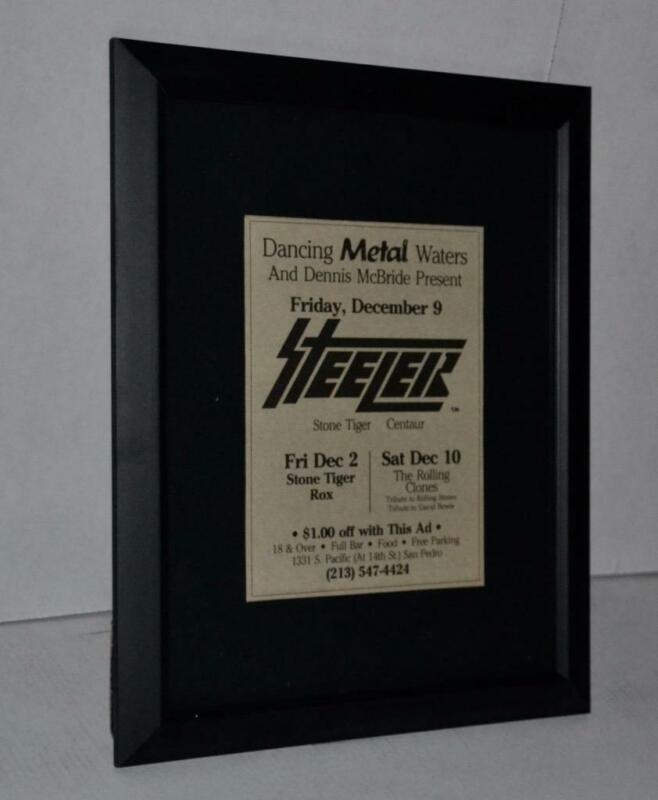 STEELER RON KEEL 1983 CLUB CONCERT FRAMED DANCING METAL WATERS CONCERTS AD
