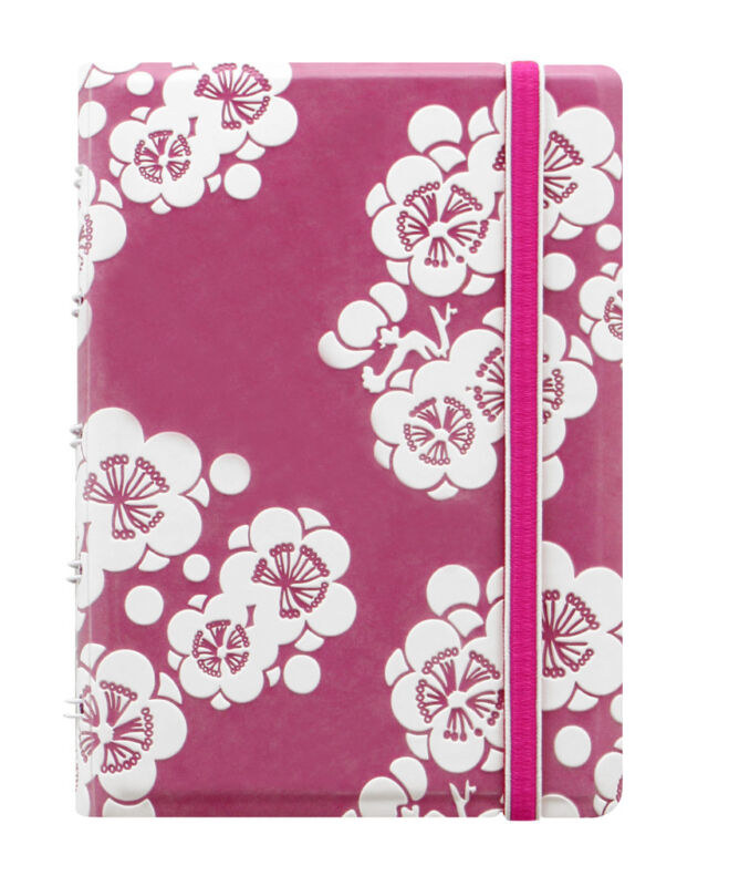 Filofax Notebook Impressions Pocket - Pink and White with Elastic Closure 115044